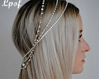 Bridal Headpiece Wedding Headpiece Headpiece Head Jewelry Chain Head piece Hair Jewelry Head Chain Bridal Head Chain Boho Hair Chain - Ellen