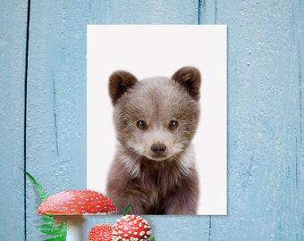 Impression d'ours, crèche de l'Art, animaux de la forêt, Digital Art, bébé ours Print, Nursery décor, bébé Animal imprime, Nursery Wall Art, Art animalier