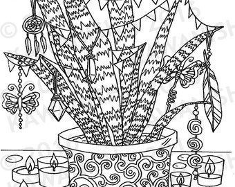 love hippie party plant adult coloring page gift wall art zentangle