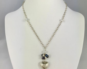 Silver heart, moonstone and pearl long necklace