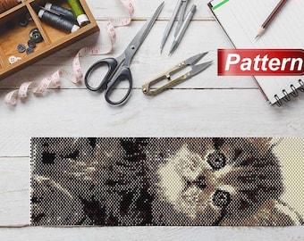 Patron peyote stitch bracelet seed bead patterns peyote cat bracelet Beading Pattern for Delica 11 little kitty beading peyote pattern cats