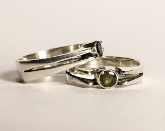 Industrial solitaire statement engagement ring with Peridot or Black Cubic Zirconia emerald