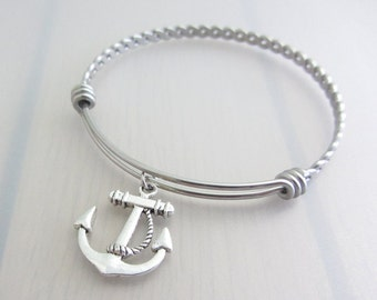 Anchor Charm Stainless Steel Bangle, Silver Anchor Charm Bracelet, Adjustable Bangle, Nautical Charm Bracelet, Nautical Gift, Boat Gift