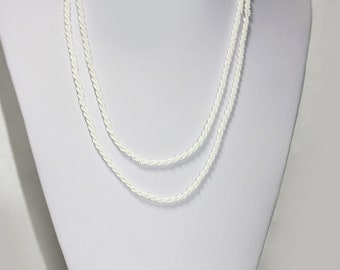 Vintage LONG WHITE Glass Seed Bead Necklace