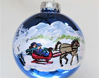 horse and sleigh, hand painted Christmas ornament