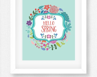Hello Spring Printable Wall Art - Hello Spring Wall Print - Hello Spring Printable - Digital Wall Art - INSTANT DOWNLOAD