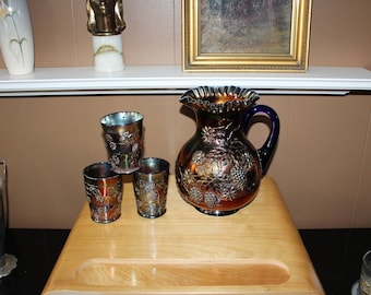 Fenton Blue Carnival Glass Pitcher & 3 Tumblers Floral and Grape 1910s