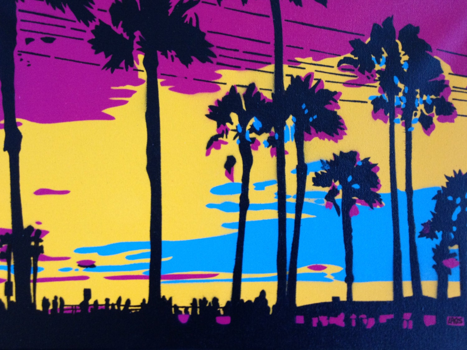 1 DIGITAL DOWNLOAD Sunset in Los Angeles stencil art canvas