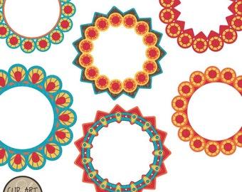 Digital Clip Art - Circle Frames - Six Bright Happy Circles