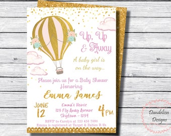 Hot Air Balloon invitation, baby shower invite, Hot Air Balloon decorations, gold baby shower invite, up and away invitation, Its a girl
