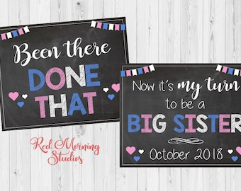 Baby #3 Pregnancy Announcement PRINTABLE Been There Done That New Baby Chalkboard Siblings big brother sister three my turn