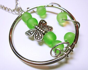 PENDANT JEWELRY Green Bead Pendant Bright Kelly Green Beaded Necklace Silver Butterfly Springtime Pendant Original Design Jewelry For Her