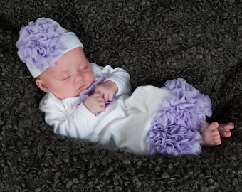 White Infant Layette White Baby Gown with Lavender Chiffon Flowers and Rhinestones