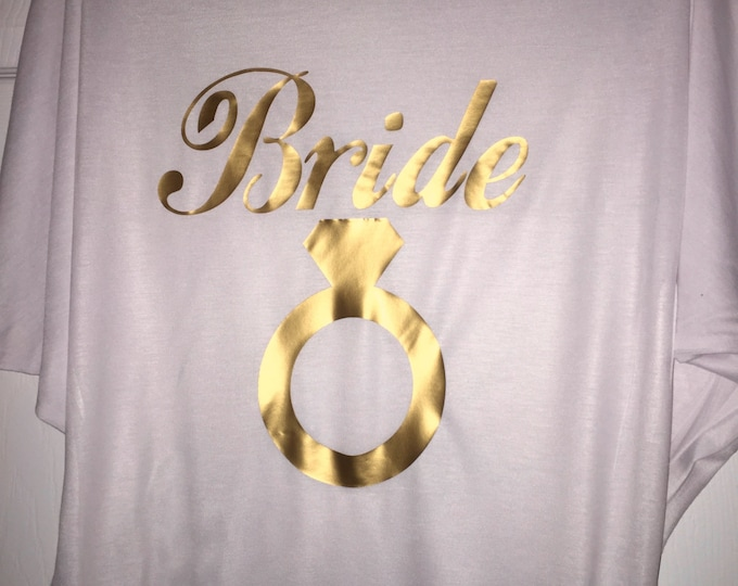 Bride shirt with gold ring / Oversized Bride Tshirt or Tank Top