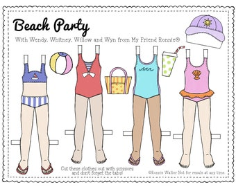 Printable Paper Doll Clothes in Color by My Friend Ronnie®-Beach Party