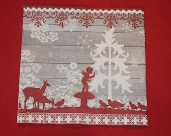 """Christmas theme napkin""Fairy Tale"""""