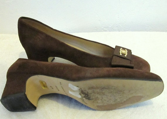 Vintage Brown SPAIN Made 70's Marked 6M Etienne In Lovely Aigner SUEDE Pumps Down By wpUqfHU6