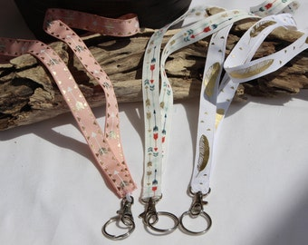 Tribal Print Lanyard / Aztec Print / Boho Keychain / Key Lanyard / ID Badge Holder/ White and  Gold /Pink gold   .Bridesmaid gift .