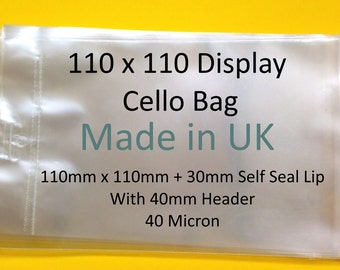 Euroslot 110mm x 110mm + 30mm Self Seal Lip Clear Header Cello Display Bags - 40 Micron