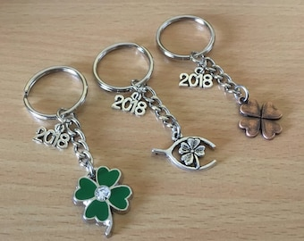 Good Luck 4 Leaf Clover 2018 Keyring, Keychain Good Luck Keyring, 2018  New Year Keychain Gift