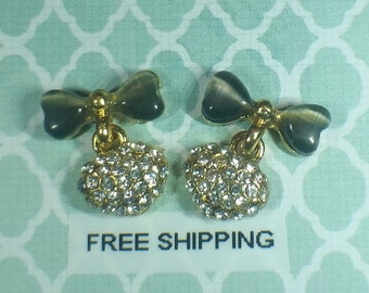 2 pc Gray & Crystal Alloy Dangle Charm Nail Art or Crafts *Free Shipping*