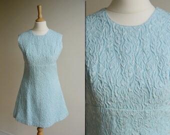 1960s Blue Micro Mini Shift Dress * Size Small