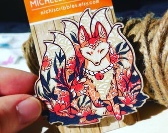 Fox Ninetails Pin. Fox Pin. Fox Brooch. Wood Brooch. Wood Pin. Kitsune Pin. Laser cut Pin. Gifts under 20. Gifts for her. Fox