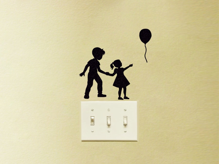 Brother And Sister Fabric Decal Balloon Wall Decor