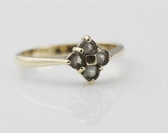 9ct Gold Blue Apatite Square Top Multi Stone Ladies Ring   Size UK O   US 7.25