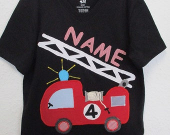 Birthday Shirt m. Fire Brigade Application & name, Gr. 110/116