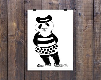Nursery Art, Art Prints, Illustration Print, Animal Art Print, Black and White Art, Panda Art, Wall Art, Pen and Ink Art, Childrens Art, Ink