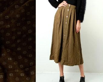 Vintage Khaki Skirt / Village Skirt / Country Skirt / Granny Skirt / Floral Skirt / Mid Calf Length Skirt / Button Down / Size M / 38