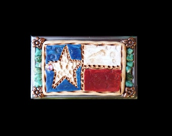 Western Texas Flag and Genuine Turquoise Business Card Case