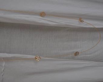 Flash necklace pink gold openwork