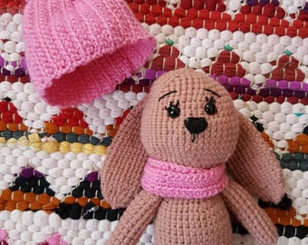 New Handmade Crocheted Bunny Rabbit Easter Bunny Pink Bunny Woolly Hat Bunny Amigurumi Easter Present Kid's Toy Rabbit Toy Stuffed Toy