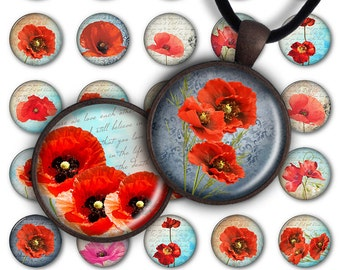 75% OFF SALE Digital Collage Sheet Red Poppies 1inch Round 30mm 25mm Circle Pendant Printable Download PC032 Instant Download Jewelry Making