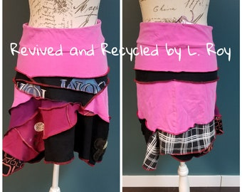 2018-035 - eco friendly t-shirt mini midi shabby chic skirt in pink and black - size M