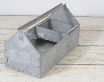 Galvanized Tool Tote With Small Removable Box Galvanized Toolbox Galvanized Tray