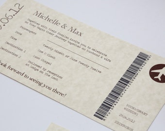 Vintage Style Parchment & Chocolate Travel Ticket Wedding Invitation BOARDING PASS ONLY