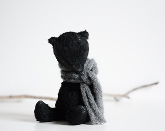 Made To Order Black Mohair Teddy Bear Knitted Scarf 8 Inches Handmade Toy Plush Toy Stuffed Animal Soft Toys Artist Teddy Bear Gift For Her