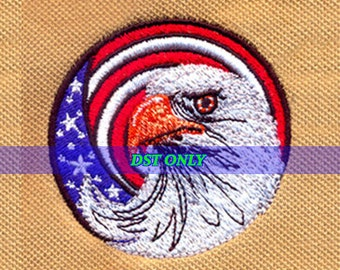 American Eagle and USA flag Embroidery Design - Instant Digital Download DST ONLY