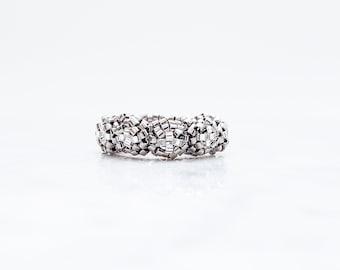 Silver Rose Ring, Beaded Rose Ring, Silver Ring