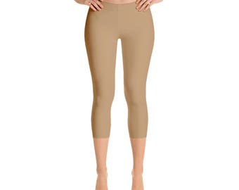 Capris Camel Leggings, Yoga Pants for Women, Stretchy Yoga Leggings