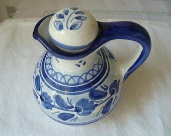 Housewarming Gift, Gift For Her, Farmhouse Decor, Blue Kitchen, Vintage, Ceramic Cruet, French, Country Kitchen, Farmhouse Kitchen