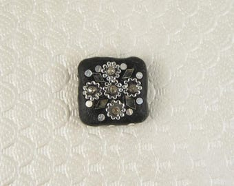 Clay Beads with Glass Bejeweled Flower, Clay Beads, Glass Bead, 1pcs