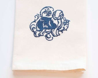 Old English Sheepdog Tea Towel | Dog Lover Gift | Embroidered Kitchen Towel | Embroidered Towel | Personalized Dish Towel | Flour Sack Towel