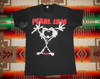 Pearl Jam Stick Figure Alive T Shirt Size Large Mudhoney Green river Temple Of The Dog Grunge