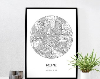 Rome Map Print - City Map Art of Rome Italy Poster - Coordinates Wall Art Gift - Travel Map - Office Home Decor