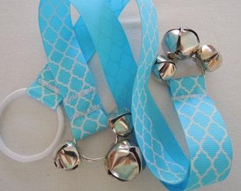 Paw Bells, Dog Housebreaking Training Bells, Light Blue Quatrefoil, Instructions included