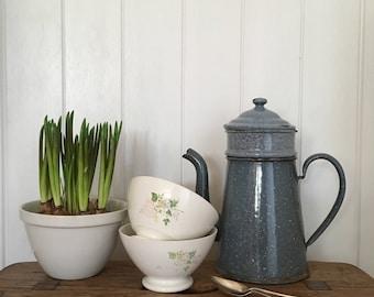 Two Vintage Cafe au Lait Bowls,  French Pottery, Floral Bowl, Kitchen Decor, Home Decor, French Home Decor